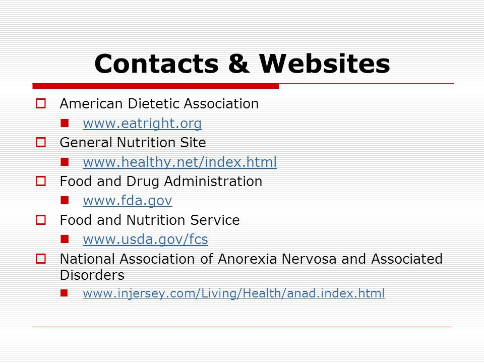 Contacts & Websites American Dietetic Association www.eatright.org
