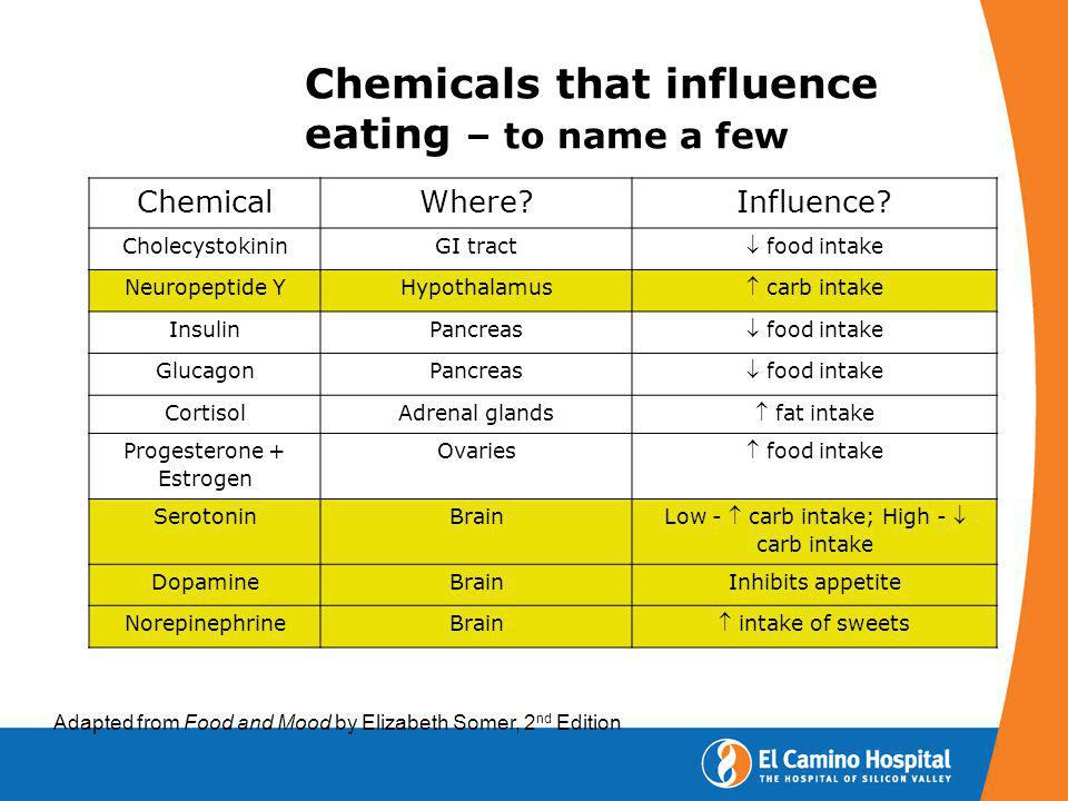 Chemicals that influence eating – to name a few