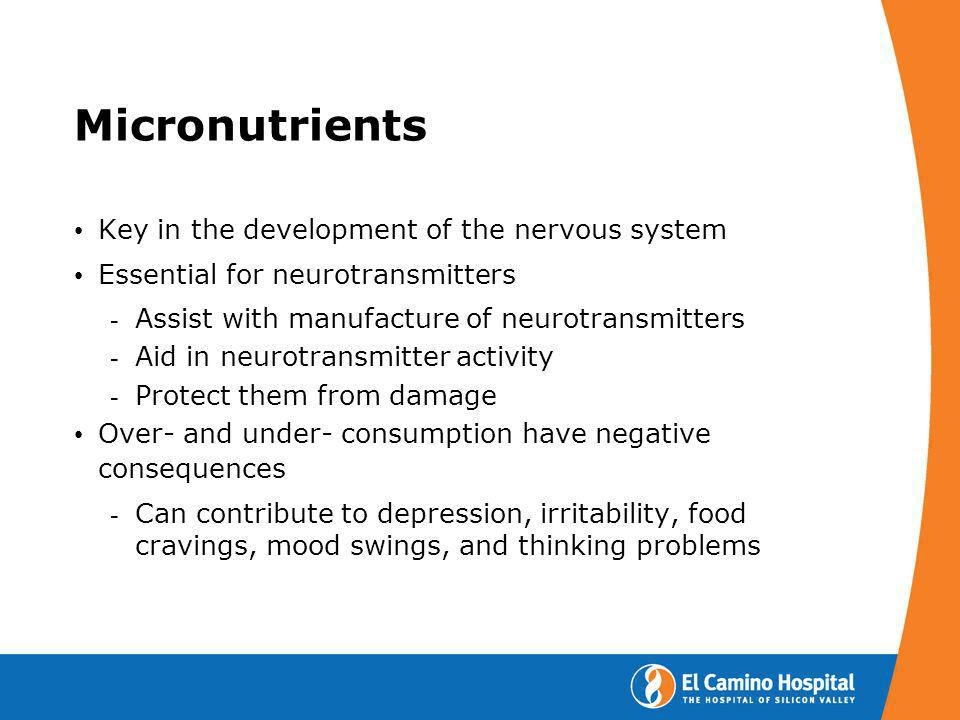 Micronutrients Key in the development of the nervous system