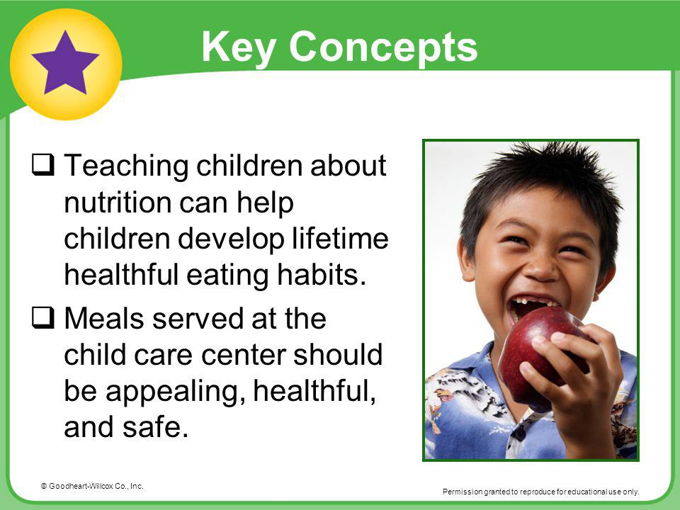 Key Concepts Teaching children about nutrition can help children develop lifetime healthful eating habits.