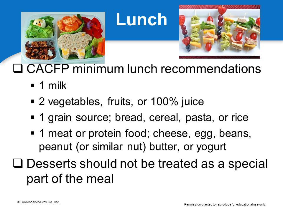 Lunch CACFP minimum lunch recommendations