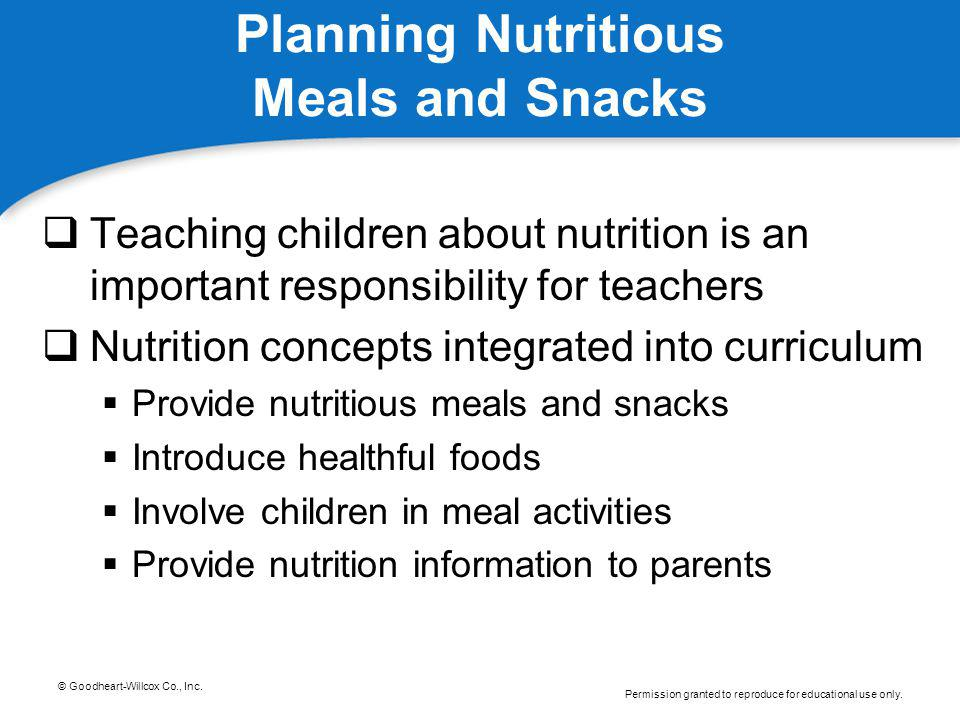 Planning Nutritious Meals and Snacks