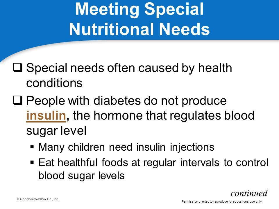Meeting Special Nutritional Needs