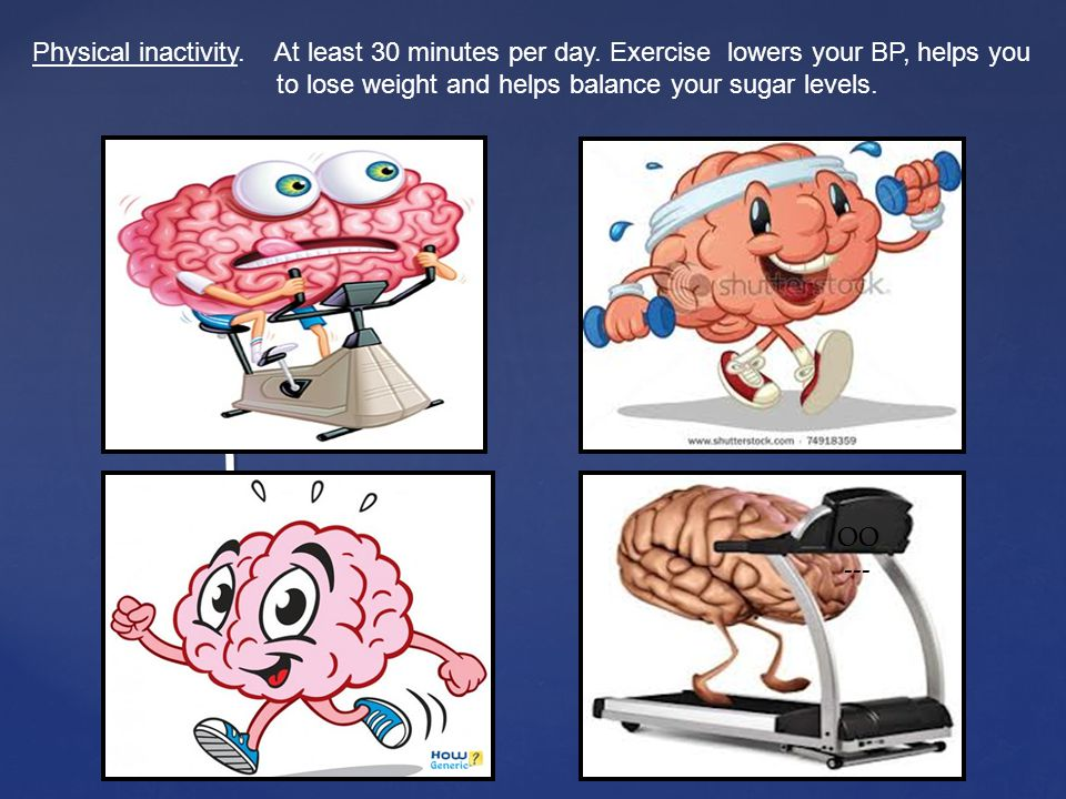 Physical inactivity. At least 30 minutes per day