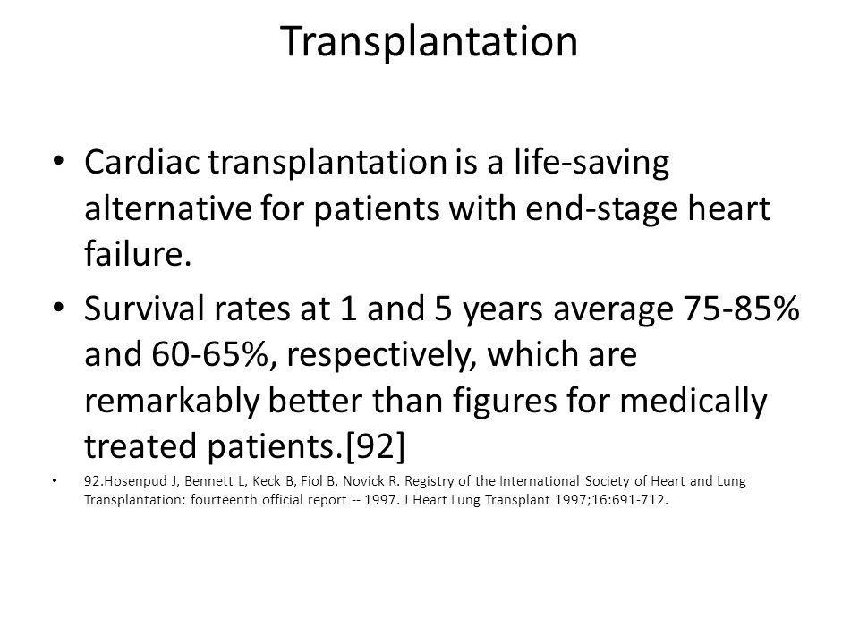 Transplantation Cardiac transplantation is a life-saving alternative for patients with end-stage heart failure.