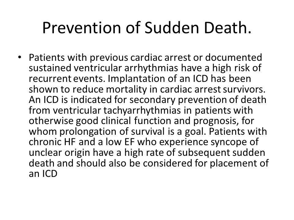 Prevention of Sudden Death.