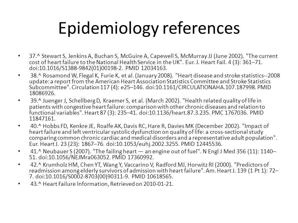 Epidemiology references