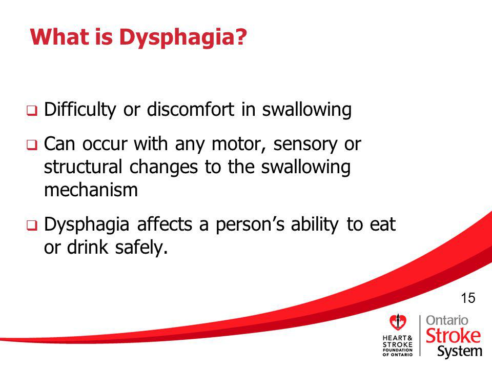 What is Dysphagia Difficulty or discomfort in swallowing