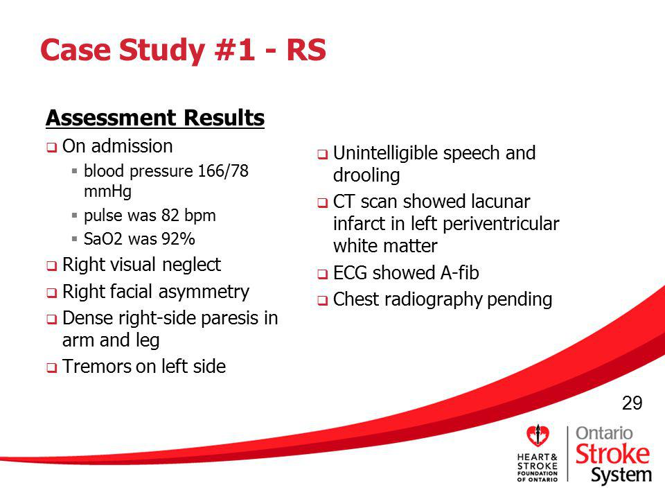 Case Study #1 - RS Assessment Results On admission