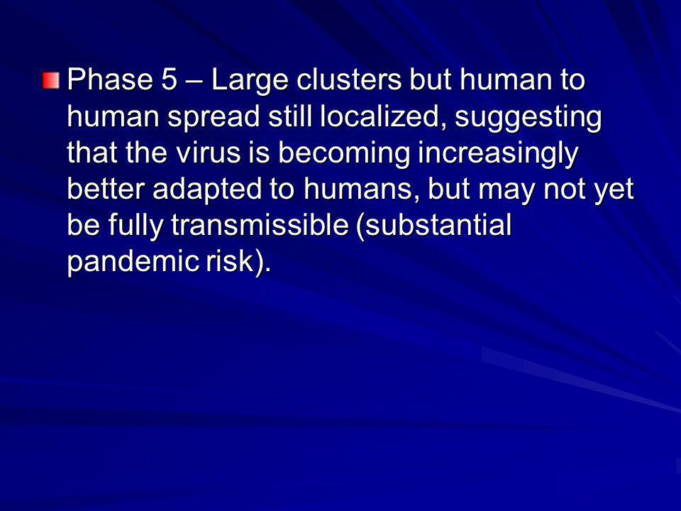 Phase 5 – Large clusters but human to human spread still localized, suggesting that the virus is becoming increasingly better adapted to humans, but may not yet be fully transmissible (substantial pandemic risk).