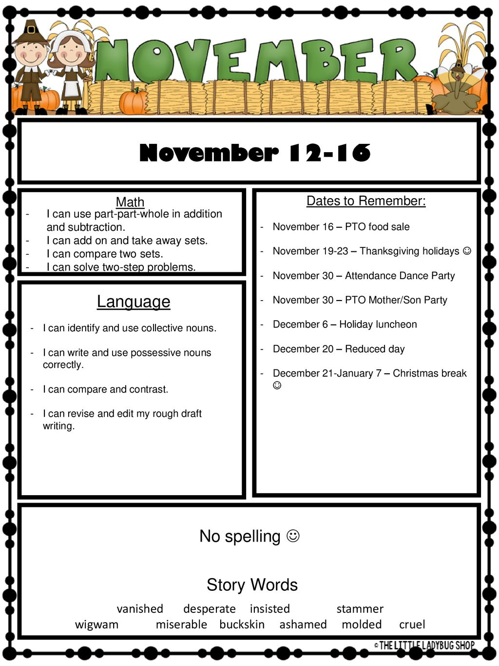 November Language No spelling  Story Words Math - ppt download