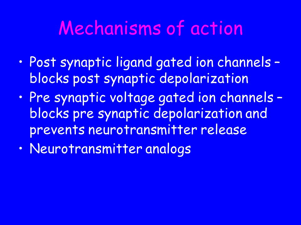 Mechanisms of action Post synaptic ligand gated ion channels – blocks post synaptic depolarization.