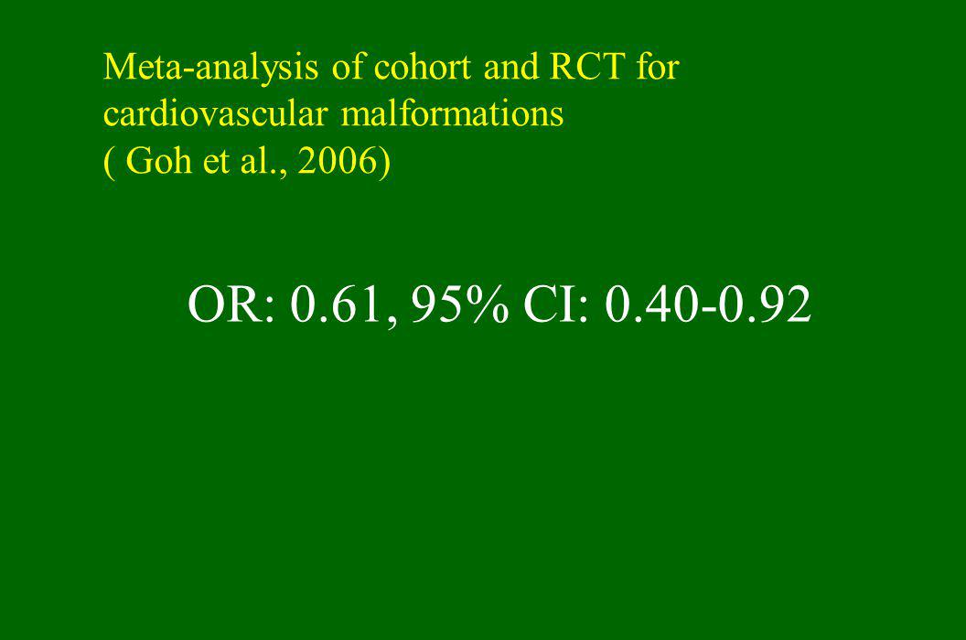 Meta-analysis of cohort and RCT for cardiovascular malformations ( Goh et al., 2006)