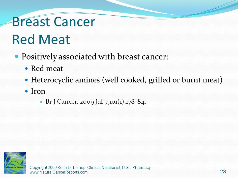 Breast Cancer Red Meat Positively associated with breast cancer: