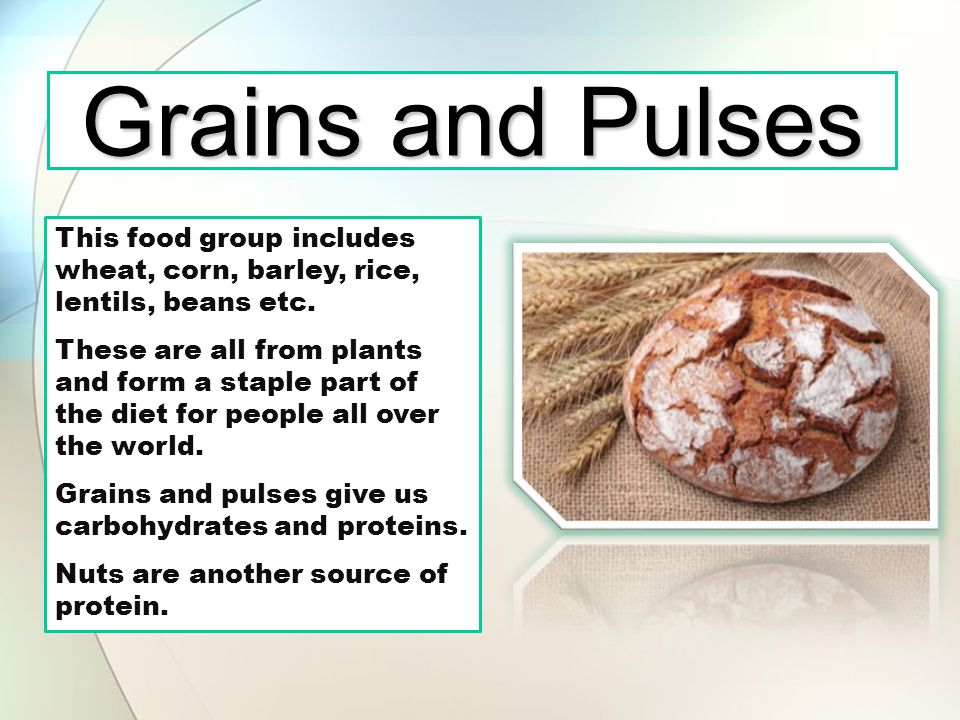 Grains and Pulses This food group includes wheat, corn, barley, rice, lentils, beans etc.
