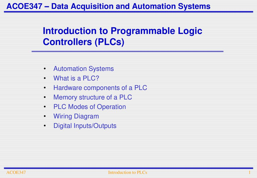 ACOE347 – Data Acquisition and Automation Systems - ppt download