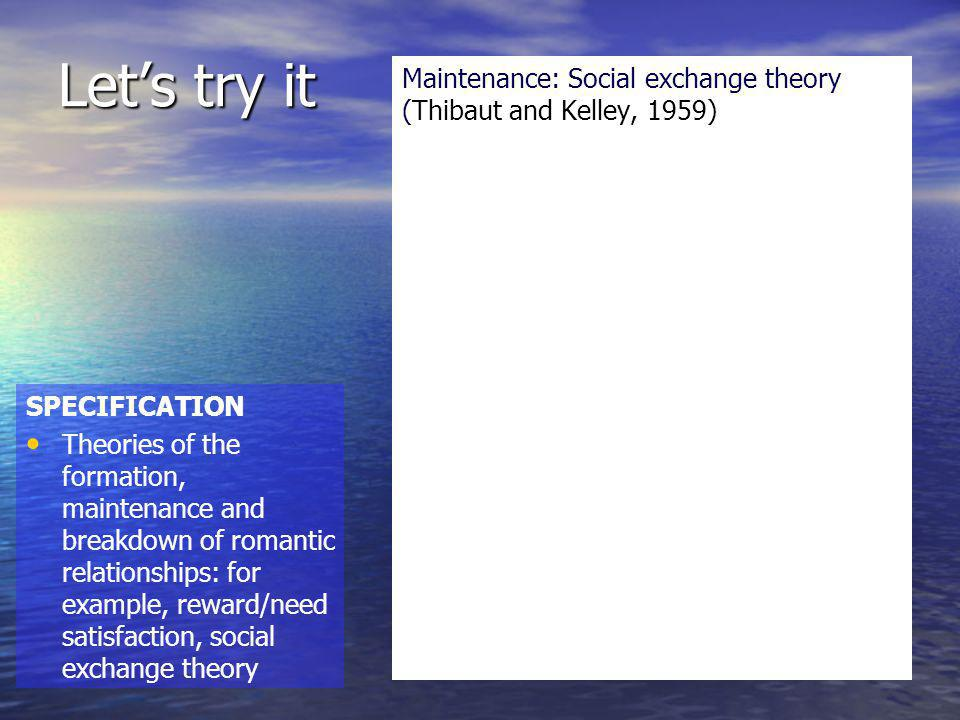 Let's try it Maintenance: Social exchange theory (Thibaut and Kelley, 1959) SPECIFICATION.