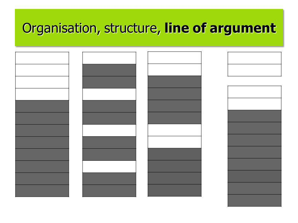 Organisation, structure, line of argument