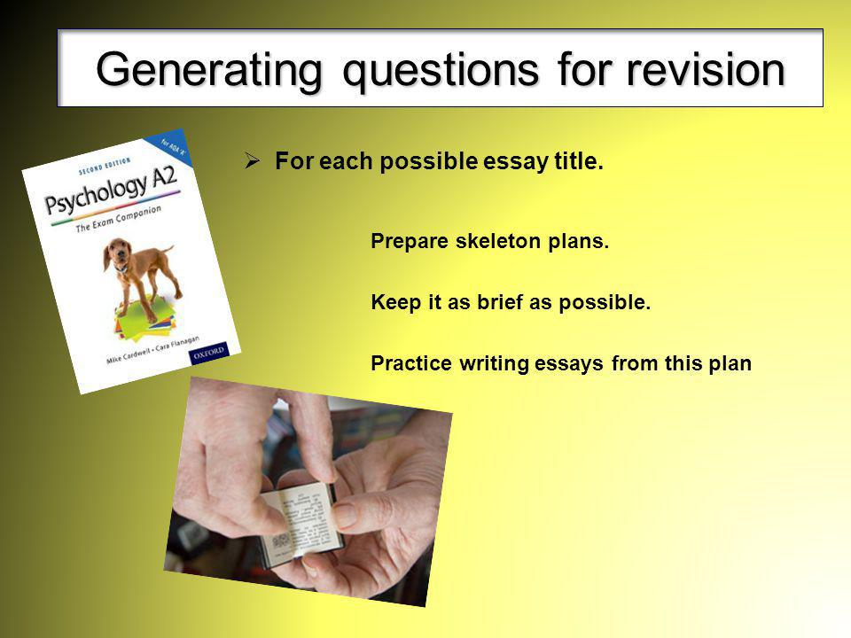Generating questions for revision
