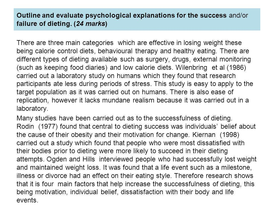 Outline and evaluate psychological explanations for the success and/or failure of dieting. (24 marks)