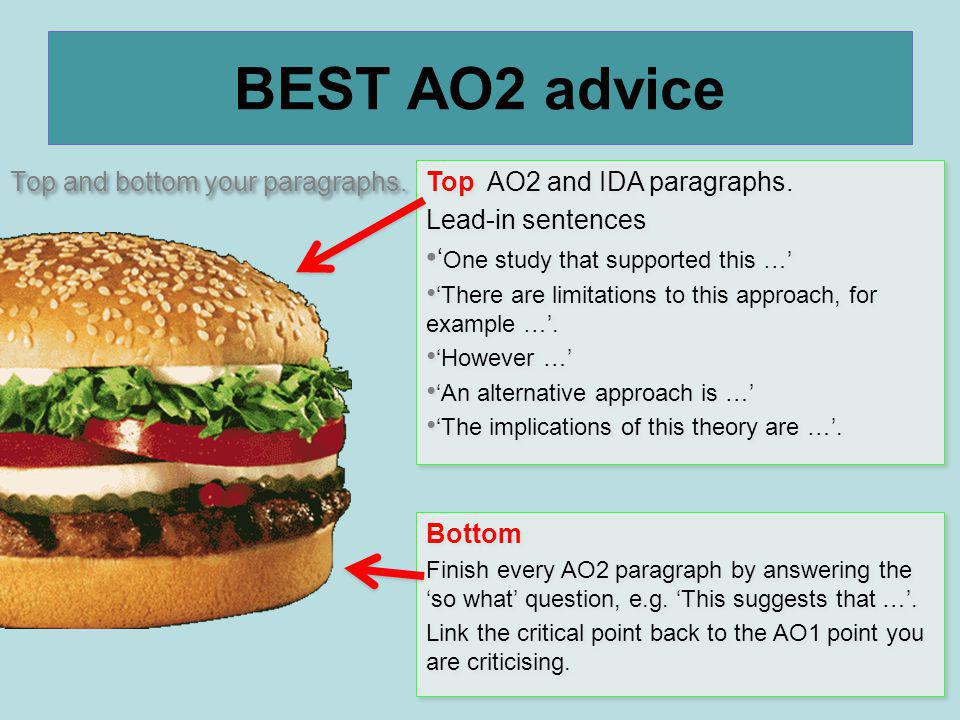 BEST AO2 advice Top and bottom your paragraphs.
