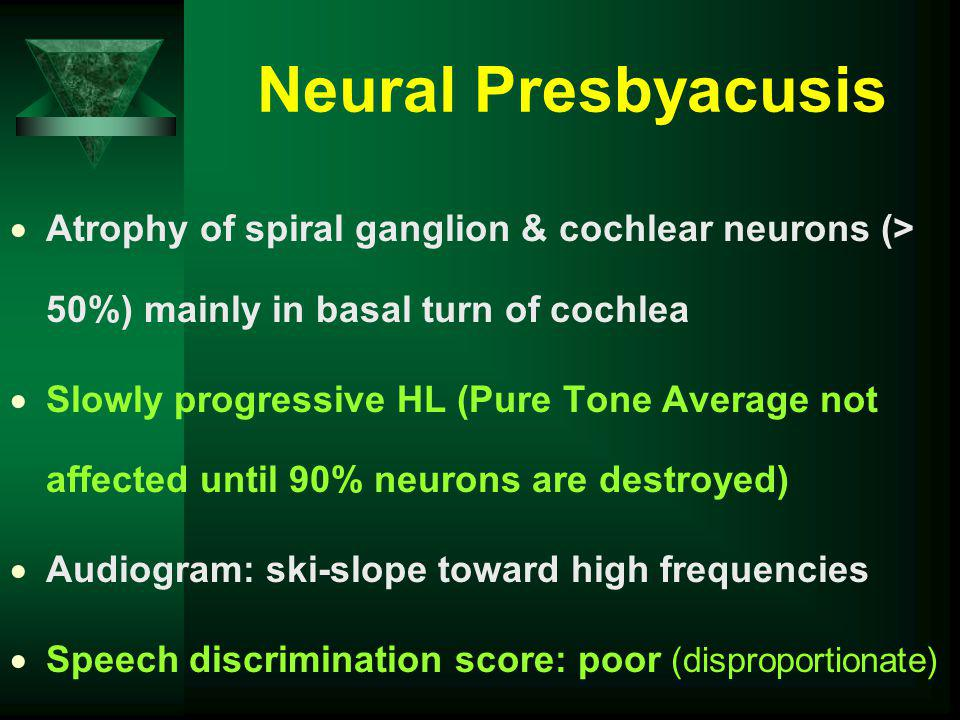 Neural Presbyacusis Atrophy of spiral ganglion & cochlear neurons (> 50%) mainly in basal turn of cochlea.