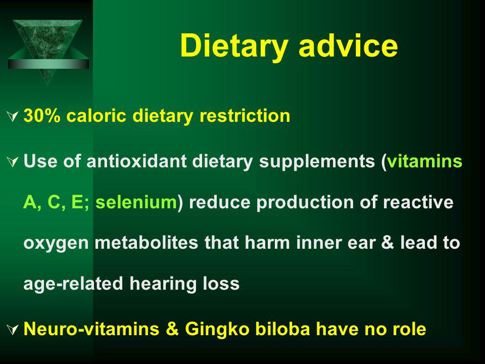 Dietary advice 30% caloric dietary restriction
