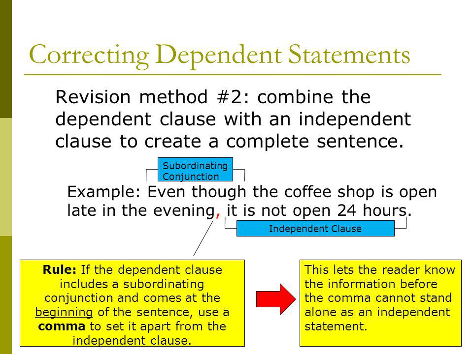 Correcting Dependent Statements