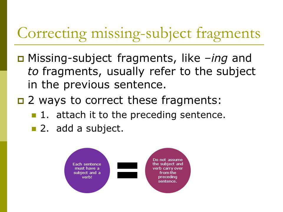 Correcting missing-subject fragments