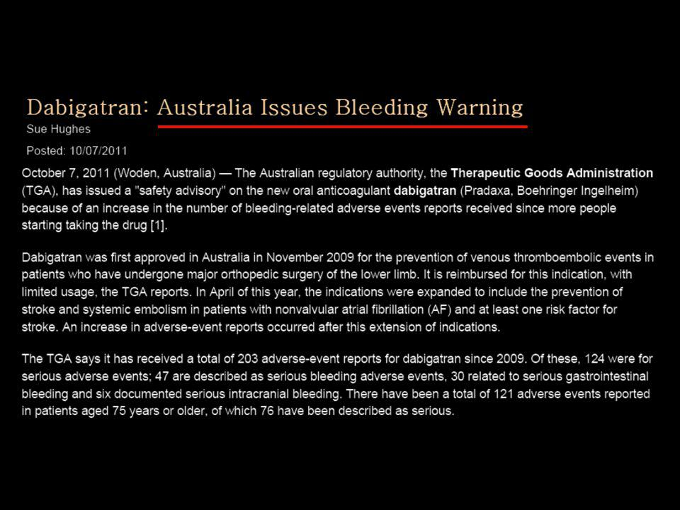 As we see, Australia has issued a bleeding warning about dabigatran reporting that bleeding rates were higher than expected.