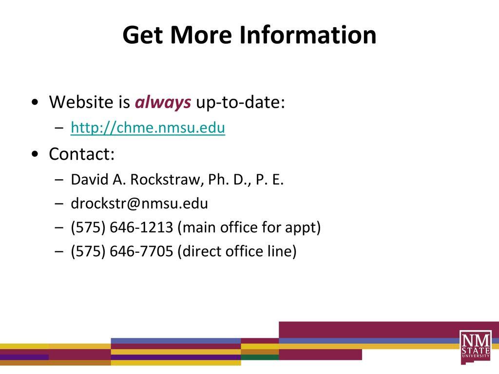 David A  Rockstraw, Ph  D , P  E  New Mexico State University - ppt