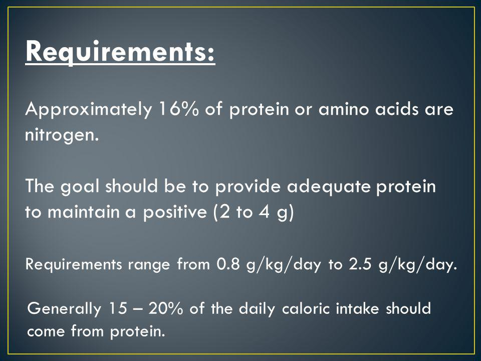 Requirements: Approximately 16% of protein or amino acids are nitrogen.