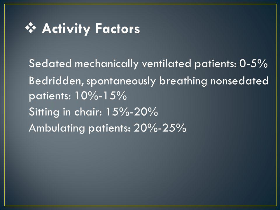 Activity Factors Sedated mechanically ventilated patients: 0-5%