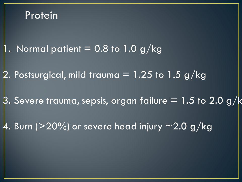Protein Normal patient = 0.8 to 1.0 g/kg