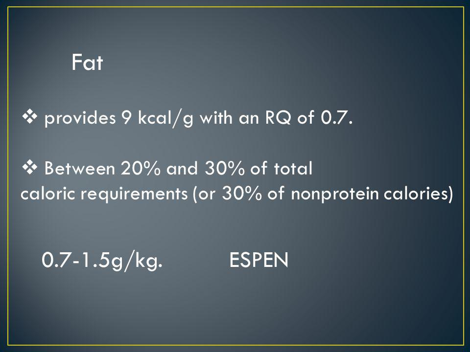 caloric requirements (or 30% of nonprotein calories)