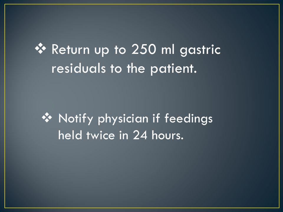 Return up to 250 ml gastric residuals to the patient.