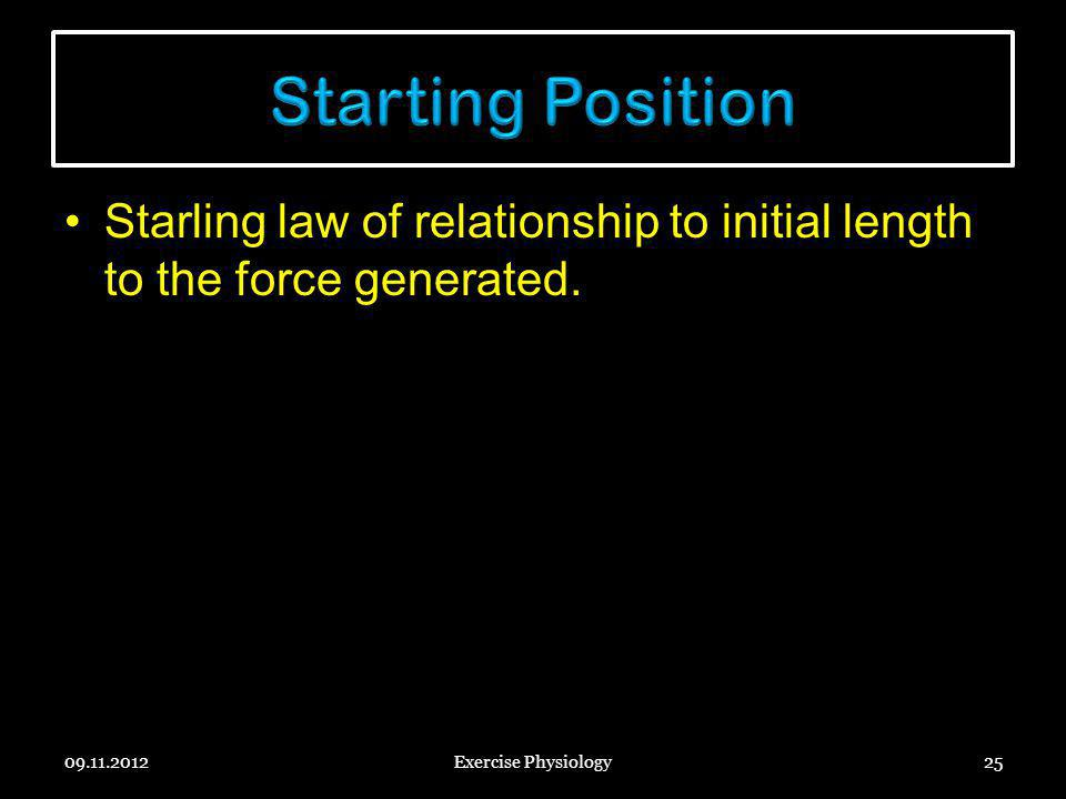 Starting Position Starling law of relationship to initial length to the force generated. 09.11.2012.