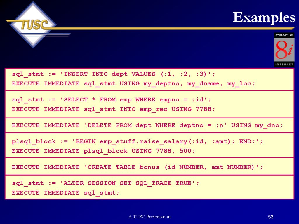oracle procedure execute immediate alter table