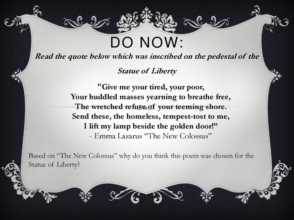 Emma Lazarus The New Colossus Ppt Download