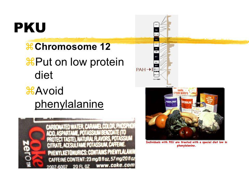 PKU Chromosome 12 Put on low protein diet Avoid phenylalanine