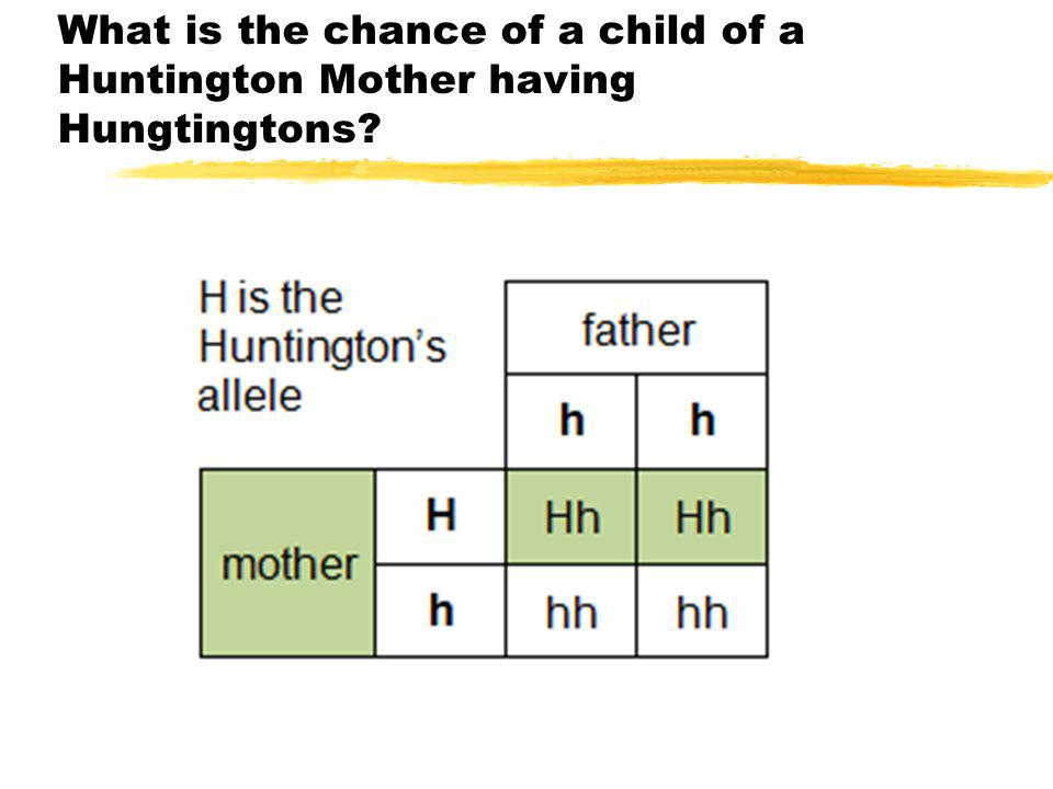 What is the chance of a child of a Huntington Mother having Hungtingtons