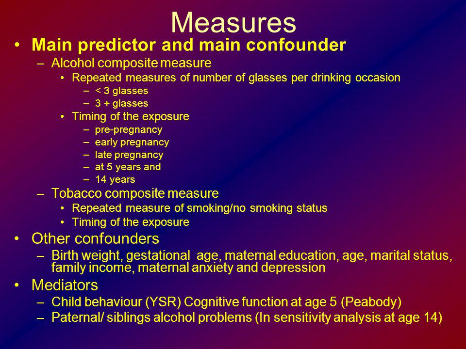 Measures Main predictor and main confounder Other confounders