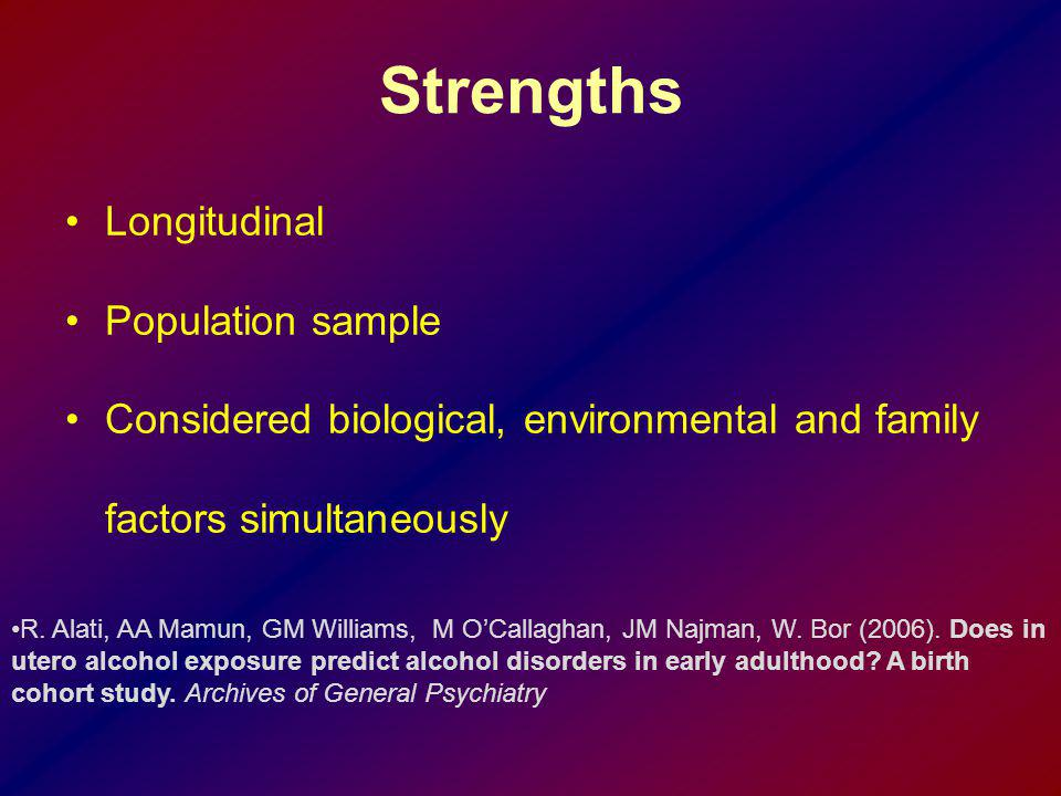 Strengths Longitudinal Population sample