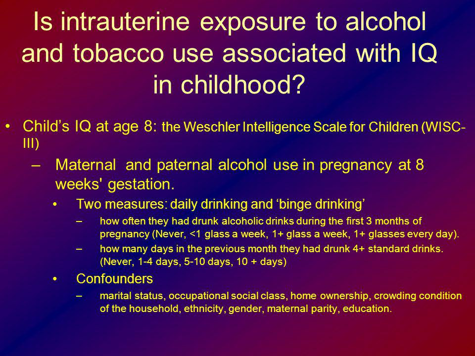 Is intrauterine exposure to alcohol and tobacco use associated with IQ in childhood