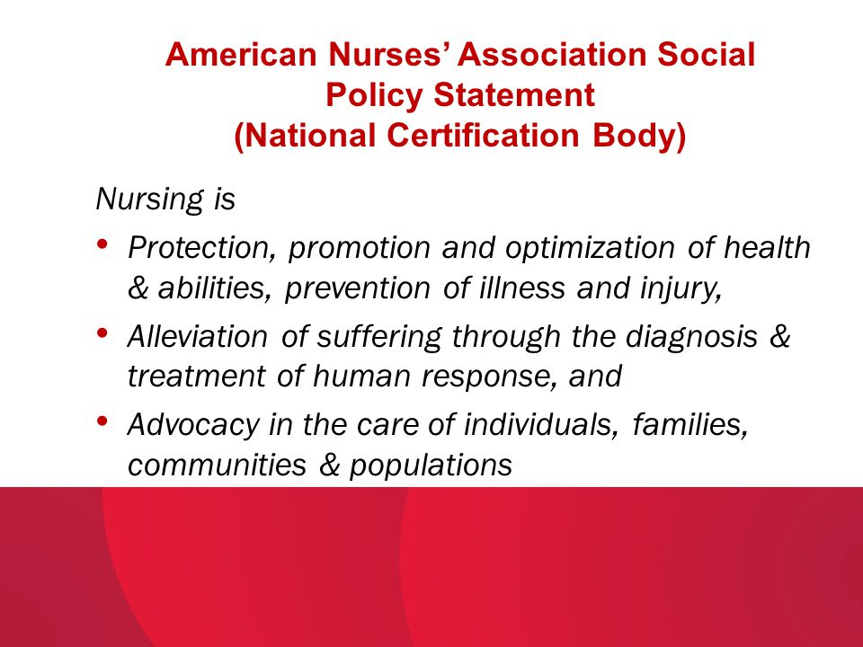 American Nurses' Association Social Policy Statement (National Certification Body)