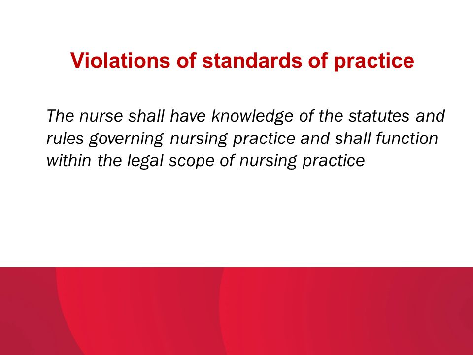 Violations of standards of practice