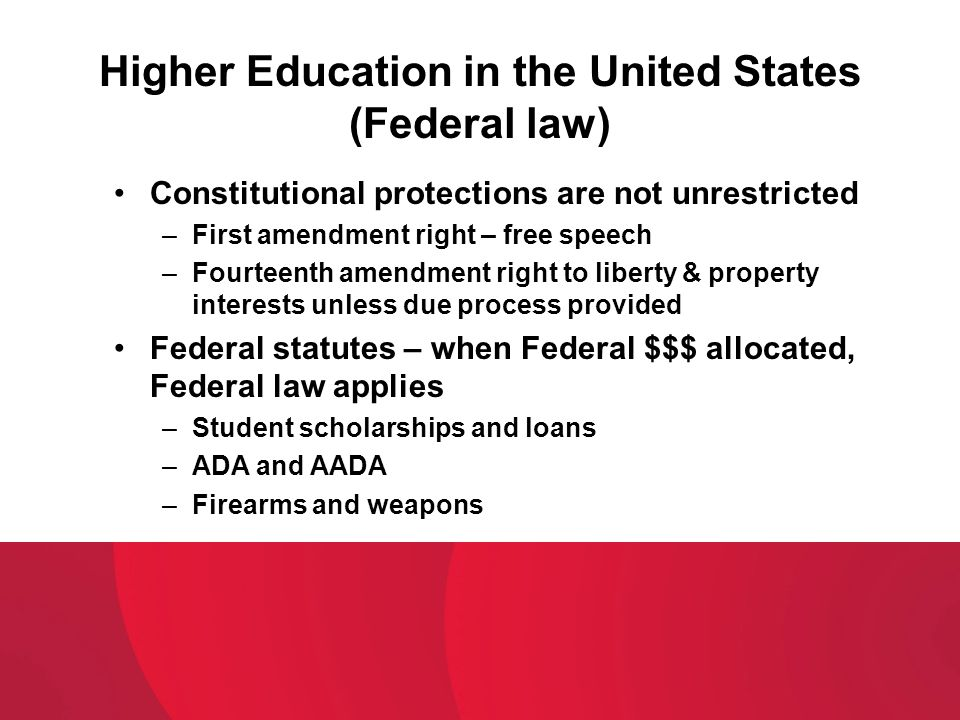 Higher Education in the United States (Federal law)