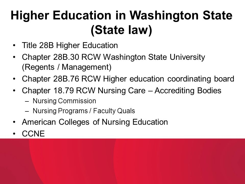 Higher Education in Washington State (State law)