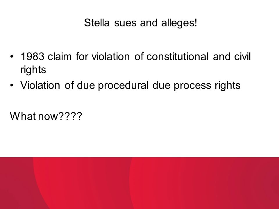 Stella sues and alleges!