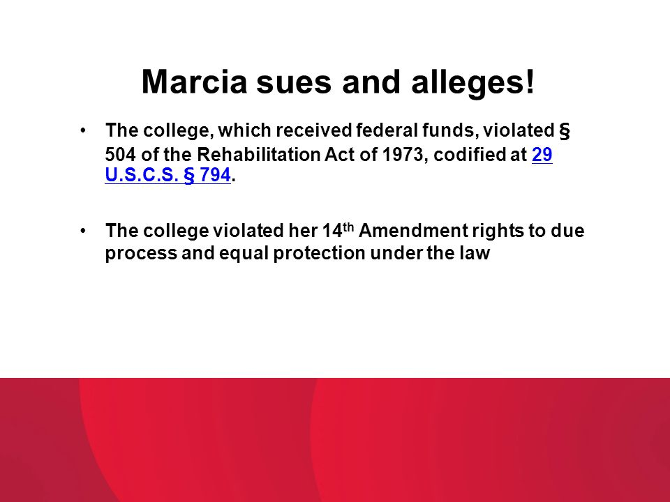 Marcia sues and alleges!